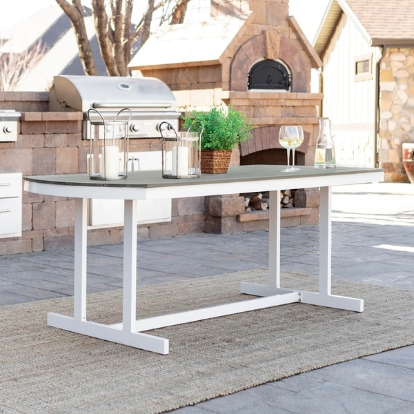 Coastal Outdoor Dining Table - Grey / White - 71 x 36 x 28h