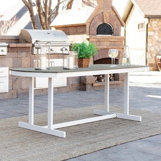 Coastal Outdoor Patio Dining Table - Grey/White