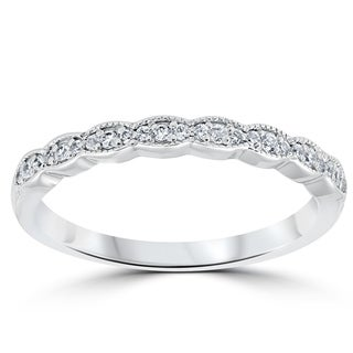 Bliss 14k White Gold 1/5 ct TDW Diamond Stackable Ring Womens Wedding Anniversary Vintage Band