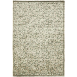 Safavieh Couture Hand-Knotted Contemporary Sage / Taupe Silk & Wool Rug (9' x 12')