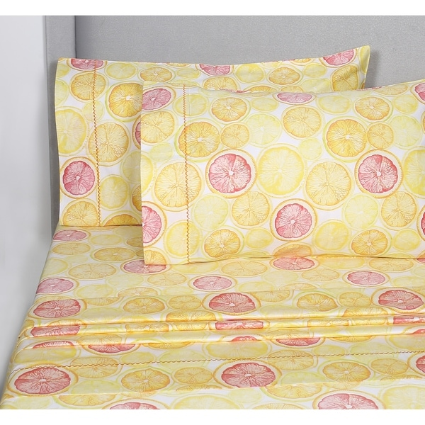 Shop Printed Design Cotton Collection 400 Thread Count Lemon Lime Sheet Set Free Shipping