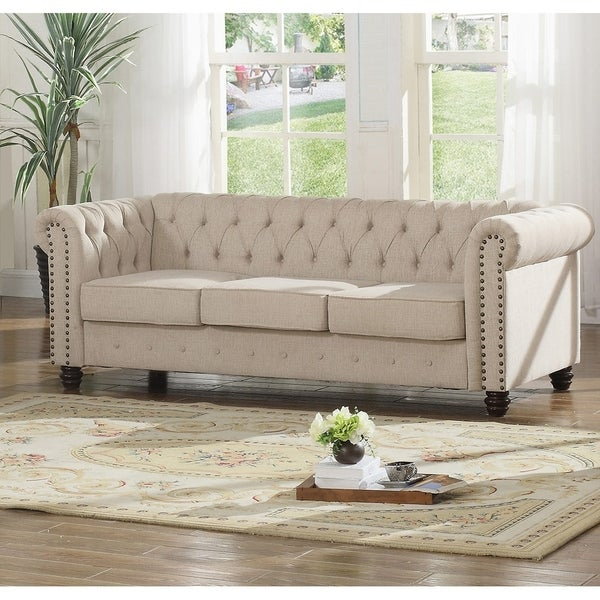Shop Best Master Furniture Tufted Upholstered Sofa Free Shipping