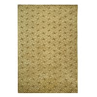 Safavieh Couture Hand-Knotted Nepalese Contemporary Tan / Cream Silk & Wool Rug - 9' x 12'