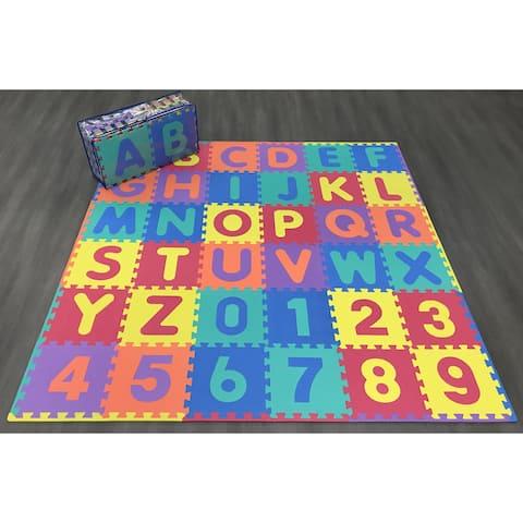 "Ottomanson Alphabet&Numbers Multipurpose Interlocking Puzzle Play Mats - MultiColor - 12"" x 12"""