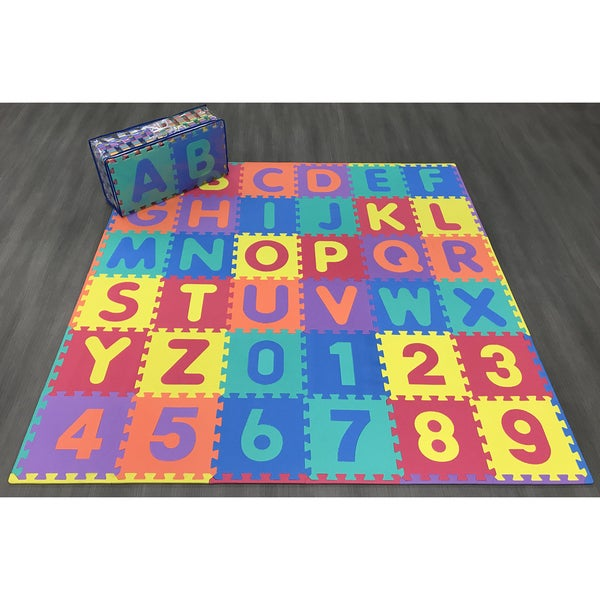"Ottomanson Alphabet&Numbers Multipurpose Interlocking Puzzle Play Mats - MultiColor - 12"" x 12"""