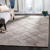 Safavieh Couture Hand-Knotted Nepalese Contemporary Grey / Taupe Silk & Wool Rug - 9' X 12'