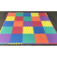 "Ottomanson Multipurpose Interlocking Puzzle Kids Foam Mat 25 Sq. Ft, 12"" x 12"" Tiles Multicolor - 4"" x 4"""