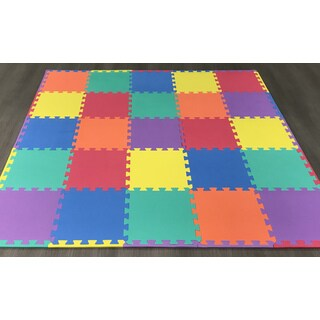 "Ottomanson Multipurpose Interlocking Puzzle Kids Foam Mat 25 Sq. Ft, 12"" x 12"" Tiles Multicolor"