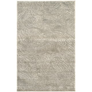 Safavieh Couture Hand-Knotted Contemporary Gray / Ivory Wool & Silk Rug - 6' x 9'
