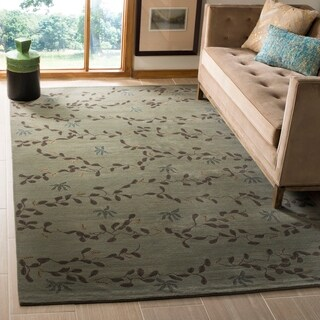 Safavieh Couture Hand-Knotted Contemporary Ocean / Gray Silk & Wool Rug (6' x 9')
