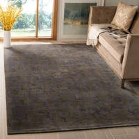 Safavieh Couture Hand-Knotted Contemporary Blue / Moss Wool & Silk Rug - 6' x 9'