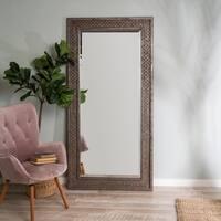 Cornel Industrial Full Length Floor Mirror - Grey/Brown/Brown/Grey - N/A