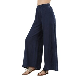 JED Women's Cotton Elastic Waist Wide Leg Gauze Pants