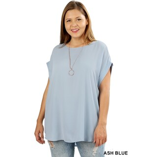 JED Women's Plus Size Relaxed Fit Woven Dolman Top (5 options available)