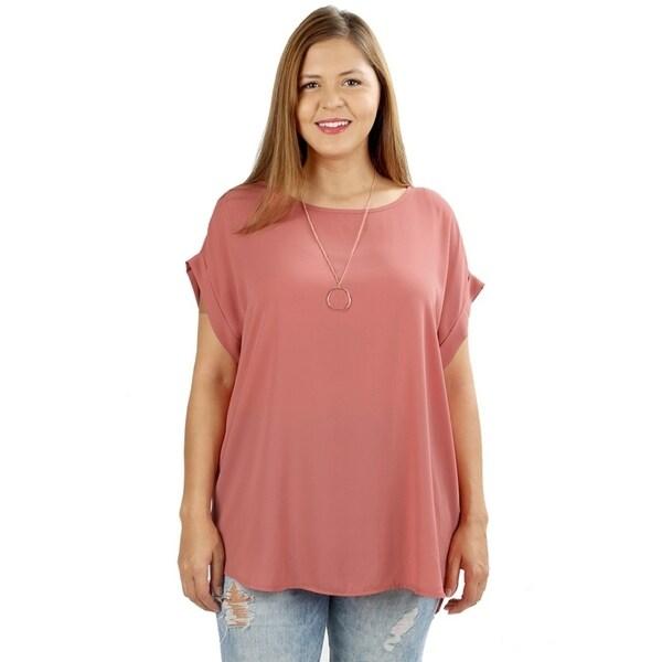 4e8ce1da6bd Shop JED Women s Plus Size Relaxed Fit Woven Dolman Top - Free ...