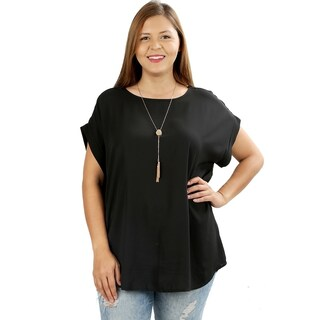 JED Women's Plus Size Relaxed Fit Woven Dolman Top (More options available)