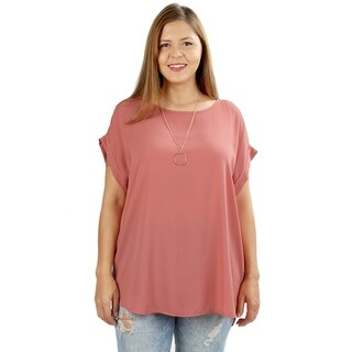 JED Women's Plus Size Relaxed Fit Woven Dolman Top