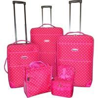 Karriage-Mate Pink Polka Dot 7-piece Expanable Luggage Set