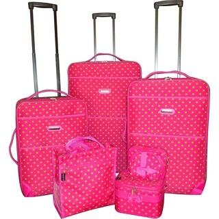 Karriage-Mate Pink Polka Dot 7-piece Expanable Luggage Set