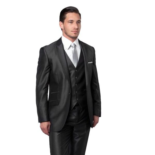 Men's Suit 3 Pcs. Slim Fit Pic Stitch Peak Lapel Ticket Pocket Suit