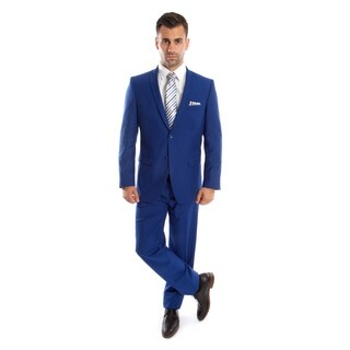 Mens Suit 2 Button Slim Fit Solid 2 Pieces Notch Lapel Suit