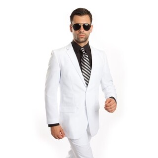 Men Suit White Solid 2 Pieces Notch Lapel Slim Fit Mens Suits