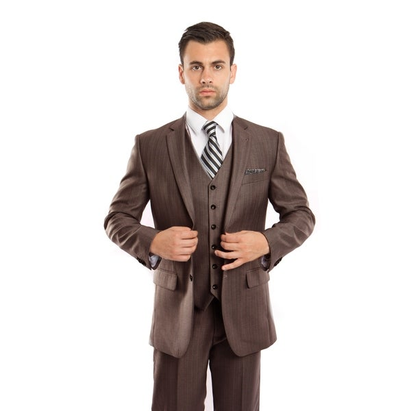 Mens Suit 3 Pcs. Modern Fit Notch Lapel Solid Texture Suit