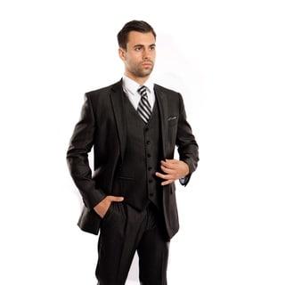 Mens Suit 3 Pcs. Modern Fit Notch Lapel Solid Texture Suit