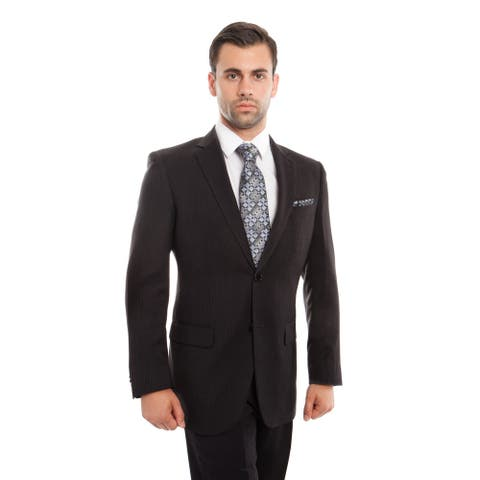 Mens Suits 2 Pcs. Solid Modern Fit Two Button Herringbone Suit