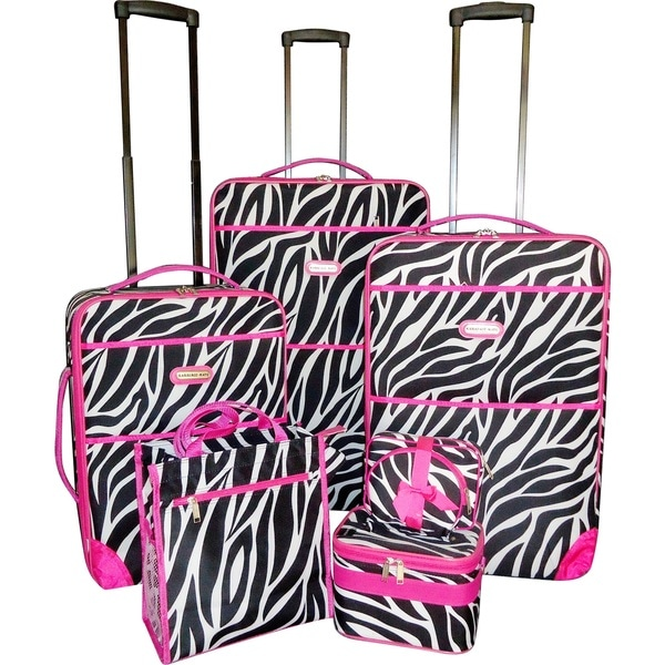 ee62b6ea5464 Karriage-Mate Pink Trimmed Zebra 7-piece Expandable Luggage Set