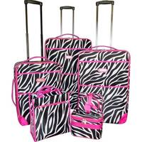 Karriage-Mate Pink Trimmed Zebra 7-piece Expandable Luggage Set