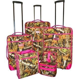 Karriage-Mate Pink Trimmed Camo 7-piece Expanable Luggage Set