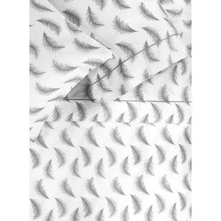 Printed Design Cotton Collection 400 Thread Count Grey Feather Sheet Set