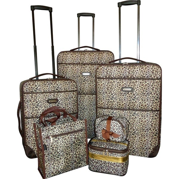 Shop Karriage Mate Leopard 7 Piece Expandable Luggage Set