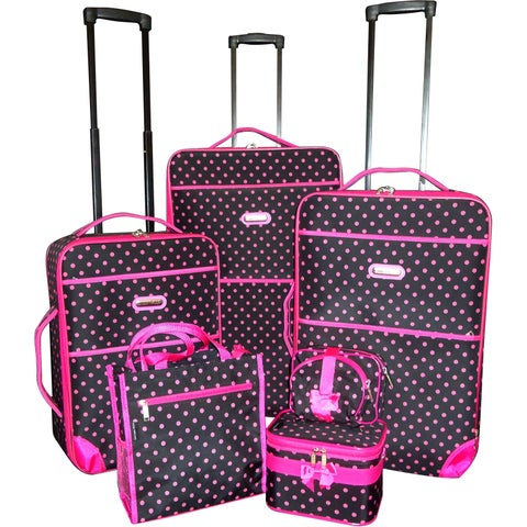Karriage-Mate Pink Polka Dot 7-piece Expandable Luggage Set