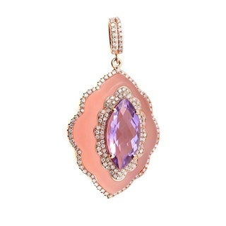 Rose Gold Pink Quartz & Amethyst Pendant PAP79451RMRZAM