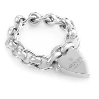 Sterling Silver Chunky Chain & Heart Charm Ring 181341J84008106