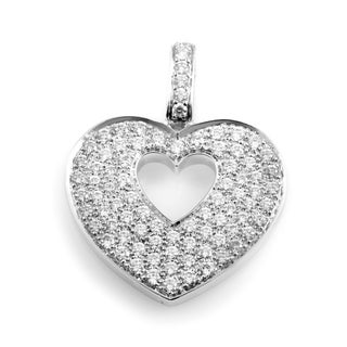 Heart Secret White Gold Diamond Pave Heart Pendant PPC0230