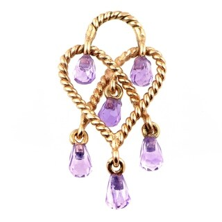 Poiray In Love Heart Rose Gold Amethyst Briolette Pendant