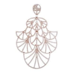 Odelia Large Rose Gold Diamond Pave Lace Pendant
