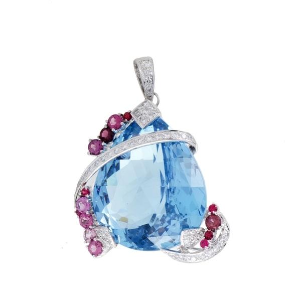 Womens white gold diamond topaz and pink sapphire pendant free womens white gold diamond topaz and pink sapphire pendant aloadofball Gallery