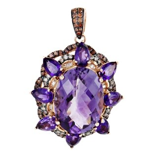 Womens Rose Gold Brown and Yellow Diamond and Amethyst Oval Pendant