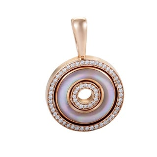 Womens Rose Gold Diamond and Pink Mother of Pearl Disc Pendant