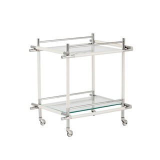 Moncasa Stefania White Leather Bar Cart