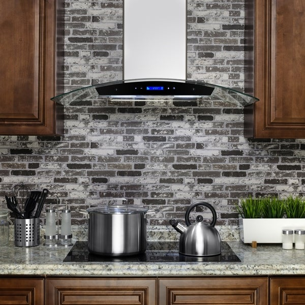 Golden Vantage RH0274 30 in. Wall Mount Range Hood in Stainless Steel with Tempered Glass, Touch Control and Carbon Filters