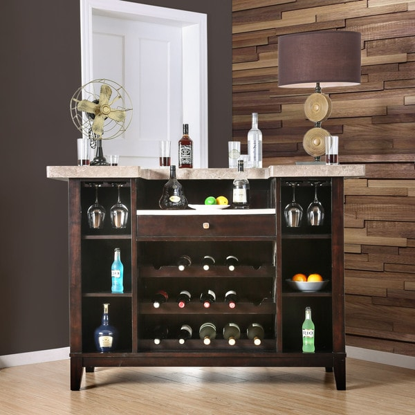 Furniture Of America Viviana Transitional Espresso Genuine Marble Top Bar  Table
