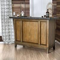 Furniture of America Viviano Transitional Light Walnut Celestite Stone Top Bar Table