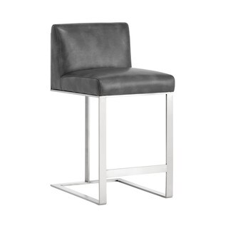 Club Dean Grey Bonded Leather Counter Stool