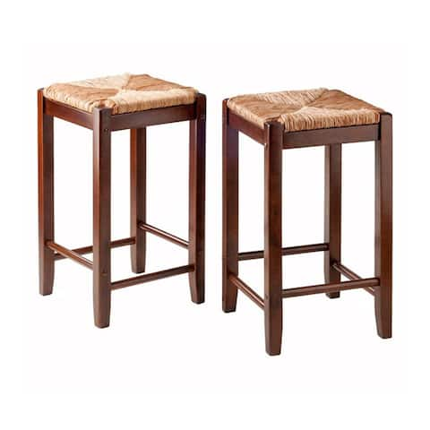 Winsome Kaden Rush Seat Bar Stools (Set of 2)