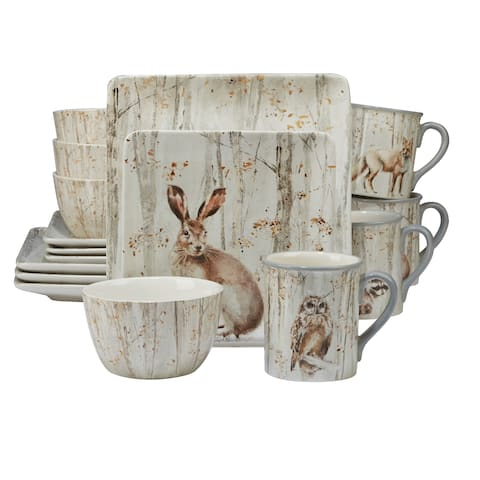Certified International A Woodland Walk 16-piece Dinnerware Set